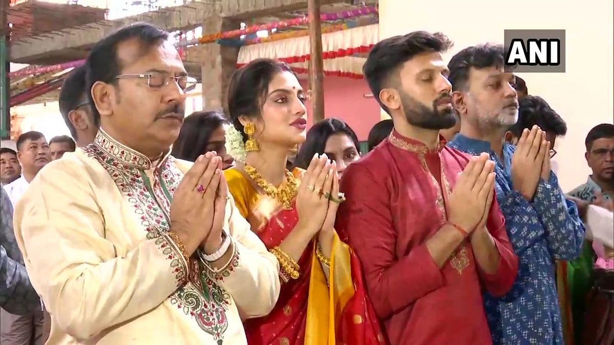 TMC Lok Sabha member Nusrat Jahan attending Durga Puja celebrations.