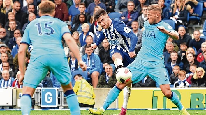 Brighton's Irish striker Aaron Connolly (C) scores his team's third goal during the English Premier League football match between Brighton and Tottenham Hotspur at the American Express Community Stadium in Brighton, southern England on Saturday