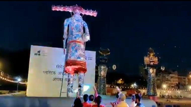Ravana effigy made of waste plastic