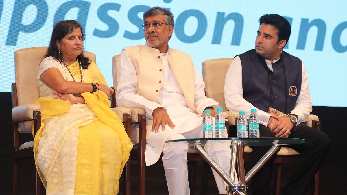 Sumedha Satyarthi, Nobel laureate Kailash Satyarthi and principal of Emerald Heights Siddharth Singh