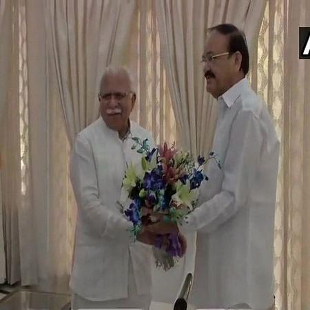 Haryana CM Manohar Lal Khattar meets Vice President Venkaiah Naidu