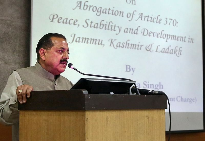 New Delhi: Union minister Jitendra Singh delivers a lecture on 'Abrogation of Article 370: Peace, Stability and Development in Jammu, Kashmir and Ladakh' at JNU, in New Delhi, Thursday, Oct. 3, 2019. Some JNU students resorted to sloganeering during the talk, which was countered by ABVP activists. (PTI Photo) (PTI10_3_2019_000270B)