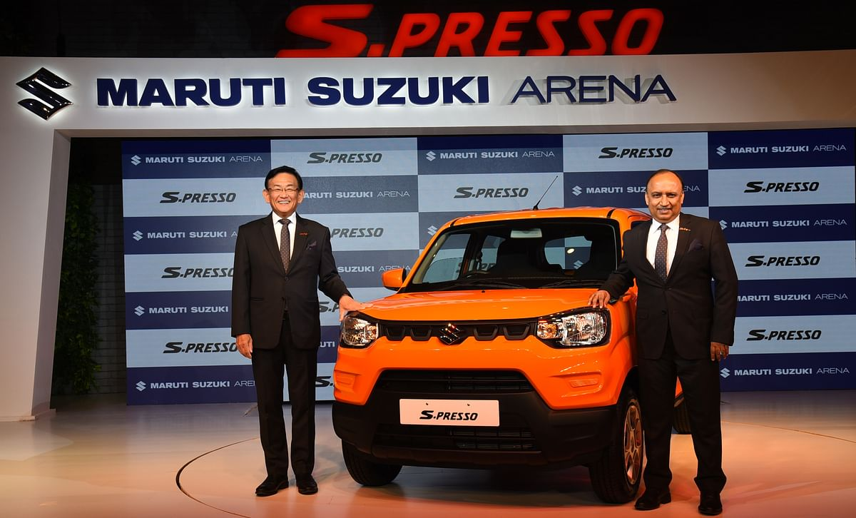 Mr. Kenichi Ayukawa, MD & CEO, Maruti Suzuki India and Mr. Shashank Srivastava, Executive Director (Marketing & Sales), Maruti Suzuki India unveiling the latest Mini SUV S-PRESSO in New Delhi on September 30, 2019