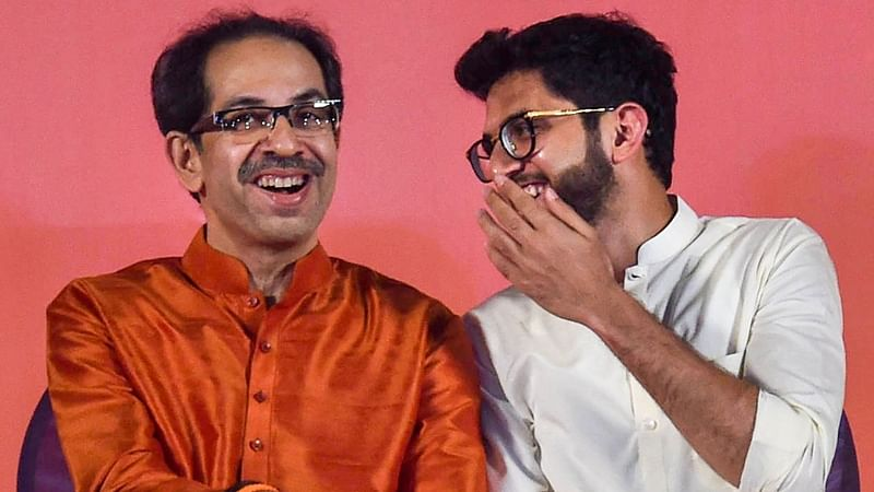 Mumbai: Shiv Sena President Uddhav Thackeray  and Yuva Sena chief Aditya Thackeray during the Dussehera rally in Mumbai, Tuesday, Oct. 8, 2019.  (PTI Photo/Shashank Parade)(PTI10_8_2019_000309B)