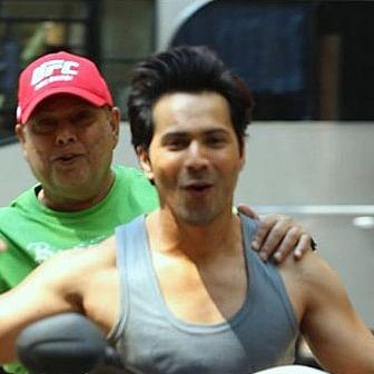 Watch: How Varun Dhawan kick-starts his day with dad David Dhawan on 'Coolie No 1' set