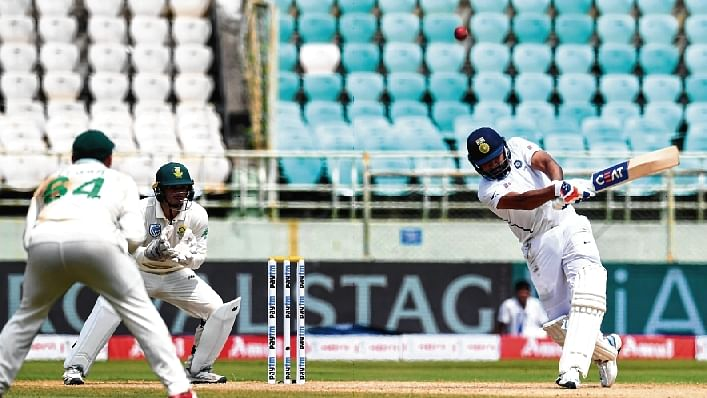 IN FULL FLOW...Mayank Agarwal in action during his knock on Thursday