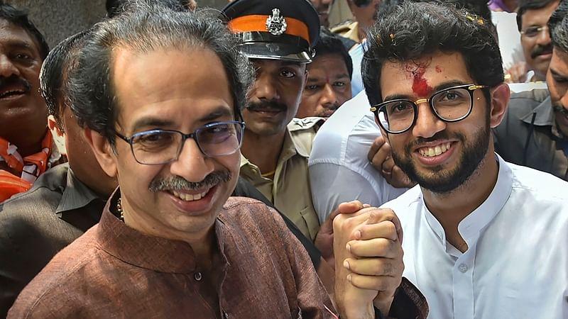 Shiv Sena President Uddhav Thackeray with son and Yuva Sena President Aditya Thackeray.