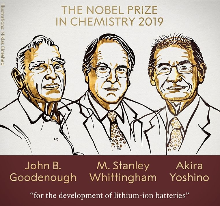Three scientists win Nobel in Chemistry for work on lithium-ion batteries
