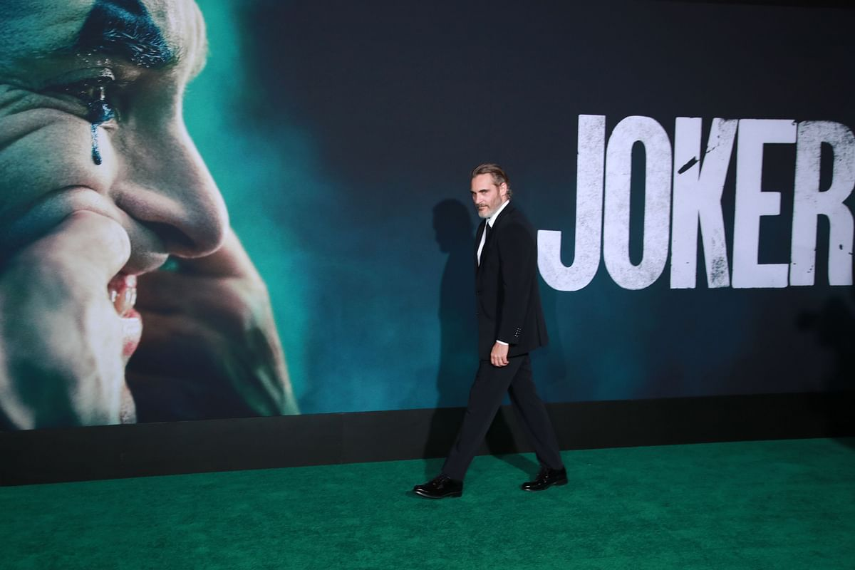 """Joaquin Phoenix attends the premiere of Warner Bros Pictures """"Joker"""" in Hollywood, California."""