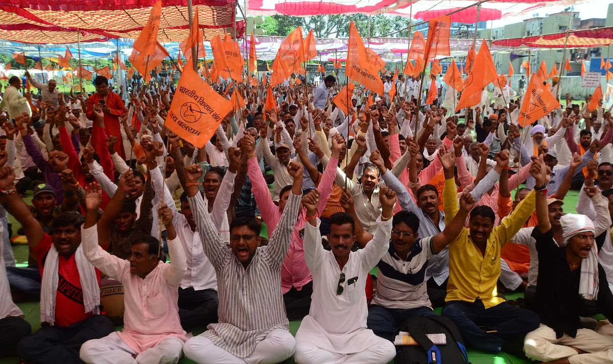 Bhopal: Farmers under BKS banner stage dharna