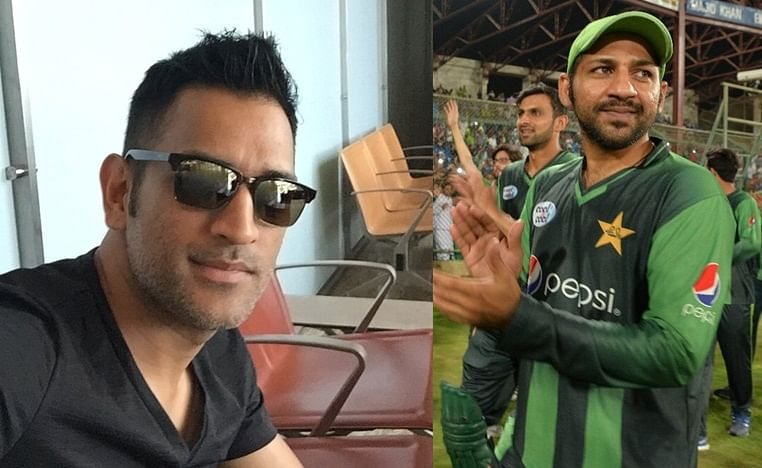 (from Left) Former India captain M.S. Dhoni and Pakistan skipper Safaraz Ahmed
