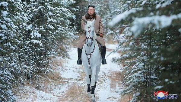 Kim Jong-un rides horse to Mount Paekdu, vows to fight US sanctions