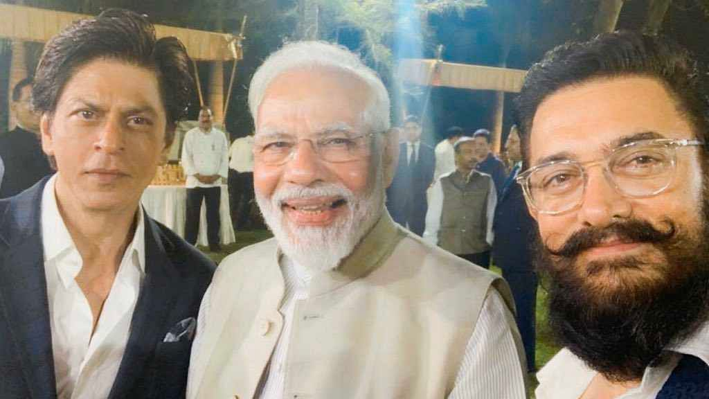 From left to right: Shah Rukh Khan, Prime Minister Narendra Modi and Aamir Khan