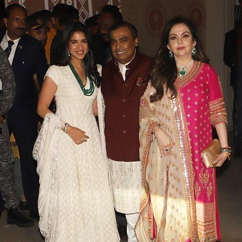 Mukesh, Nita Ambani and Radhika Merchant attend Bachchans' Diwali bash