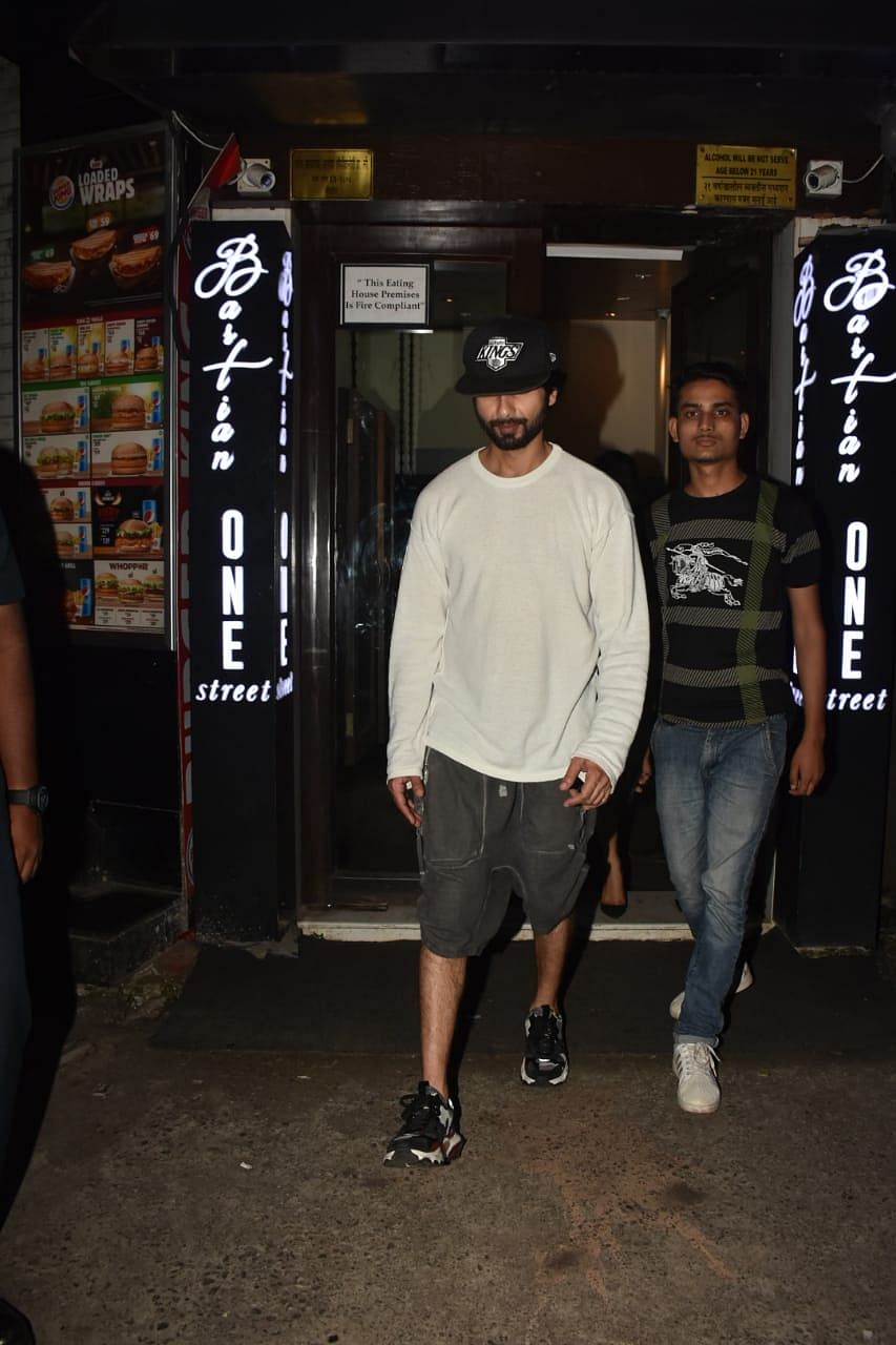 Shahid Kapoor spotted yesterday with his Mother in law and wife Mira Rajput at Bastian in Bandra.