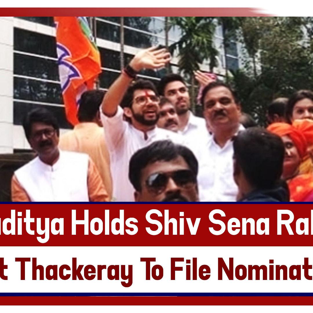 Maharashtra Polls- Aaditya Holds Shiv Sena Rally Before Becoming First Thackeray To File Nomination