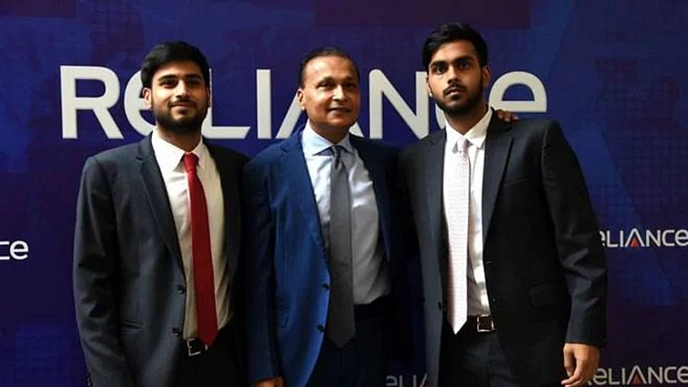 Anil Ambani (centre), with his sons Anmol and Anshul.