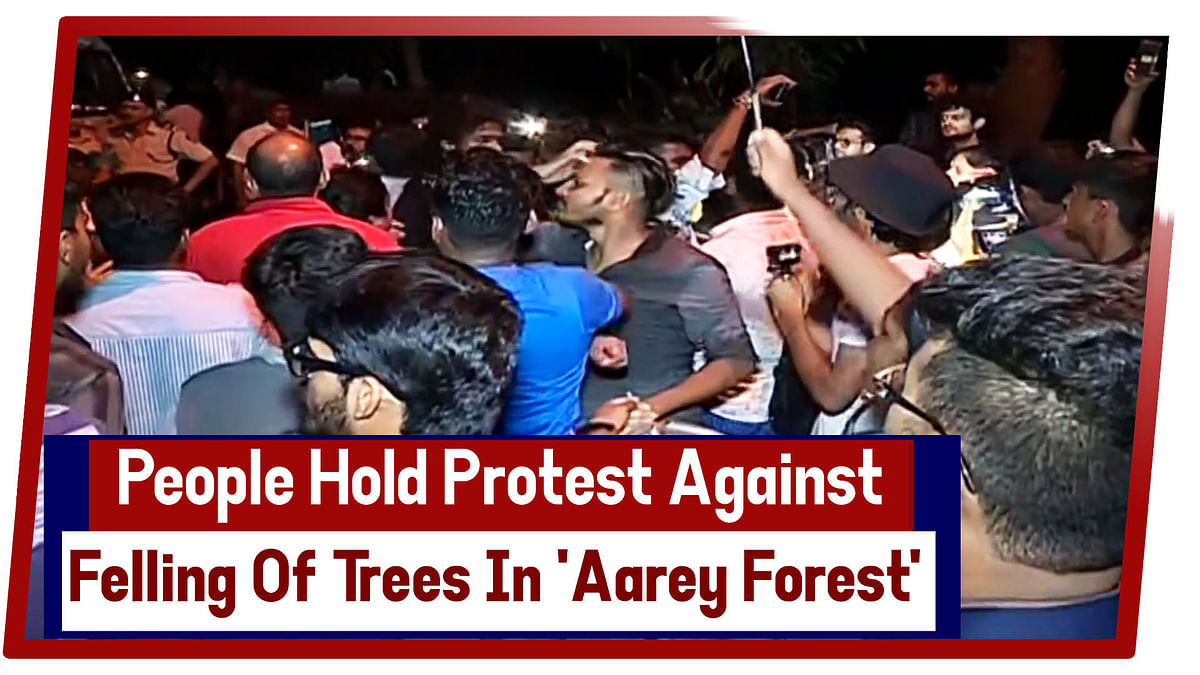 People hold protest against felling of trees in 'Aarey Forest'