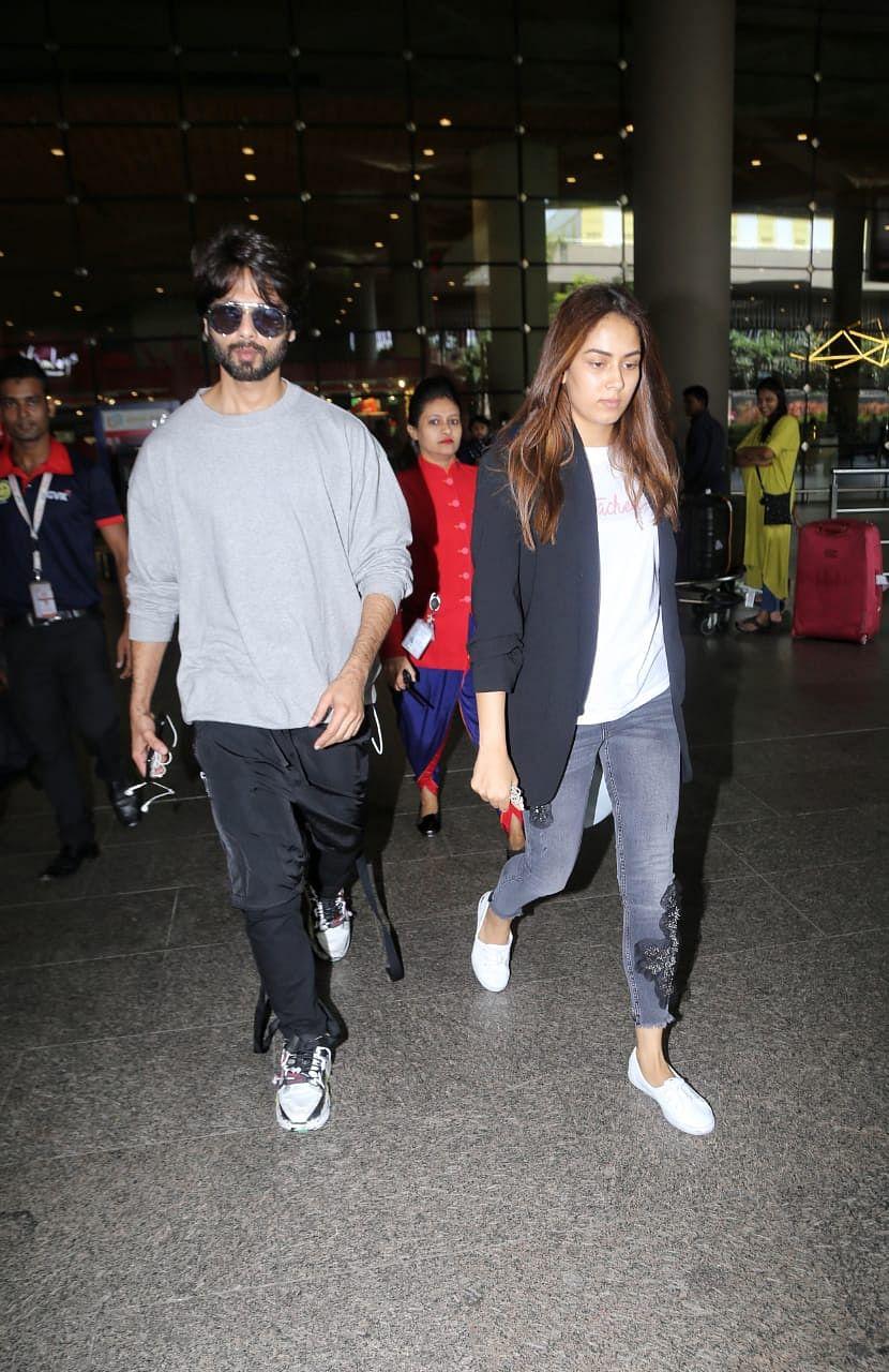 Shahid Kapoor and Mira Rajput at airport