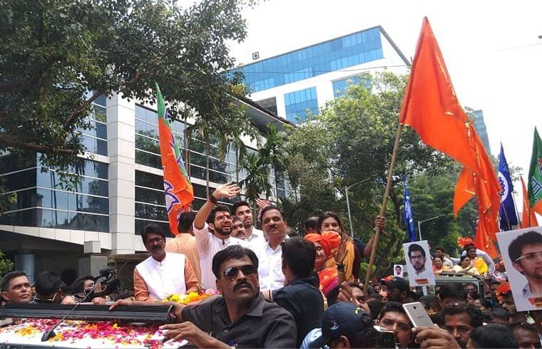 Aaditya holds massive Shiv Sena rally before becoming first Thackeray to file nomination