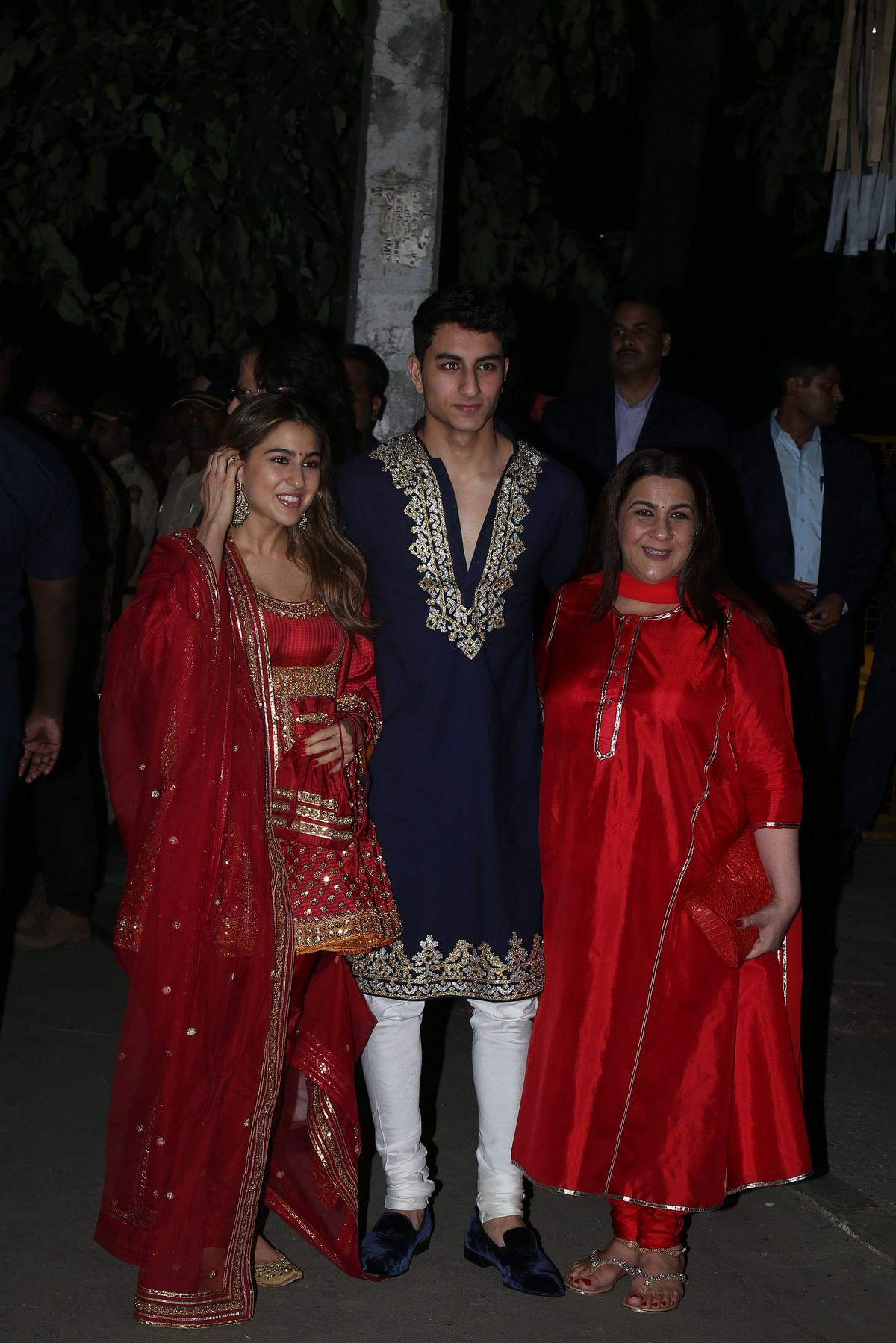 Sara and Ibrahim Ali Khan with Amrita Singh