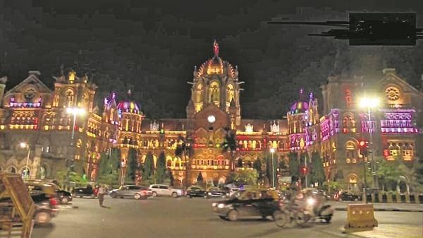 Shiv Sena Bhavan, CSMT station lit up for Diwali