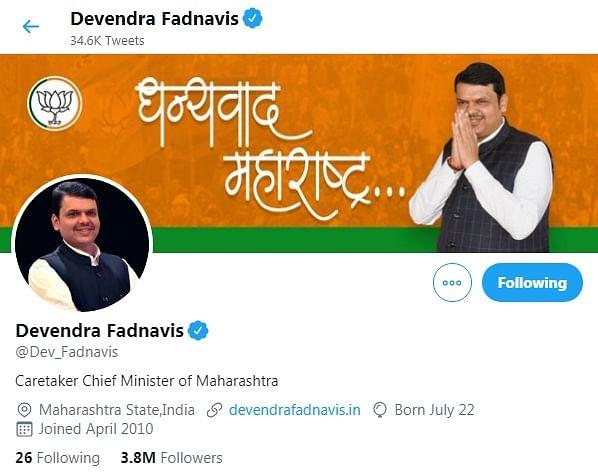 Devendra Fadnavis now 'caretaker CM' of Maharashtra, makes it official on Twitter