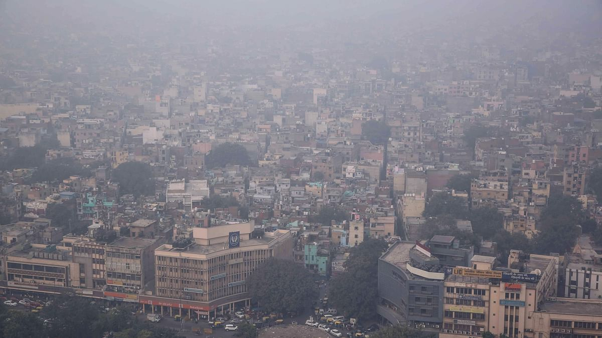 This aerial photograph shows heavy pollution smog covering the capital city of Delhi on November 1, 2019