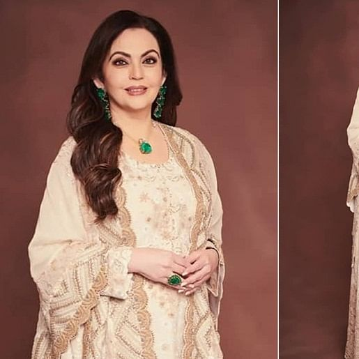 Nita Ambani is an epitome of beauty and grace in this ivory and gold outfit