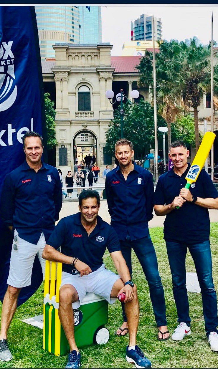 Wasim Akram poses with Michael Hussey, Michael Vaughan and Mark Howard