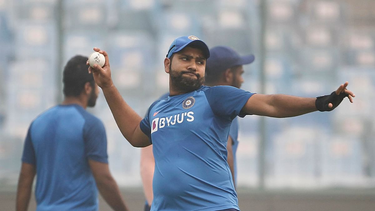 Rohit Sharma during a pre-match practice session