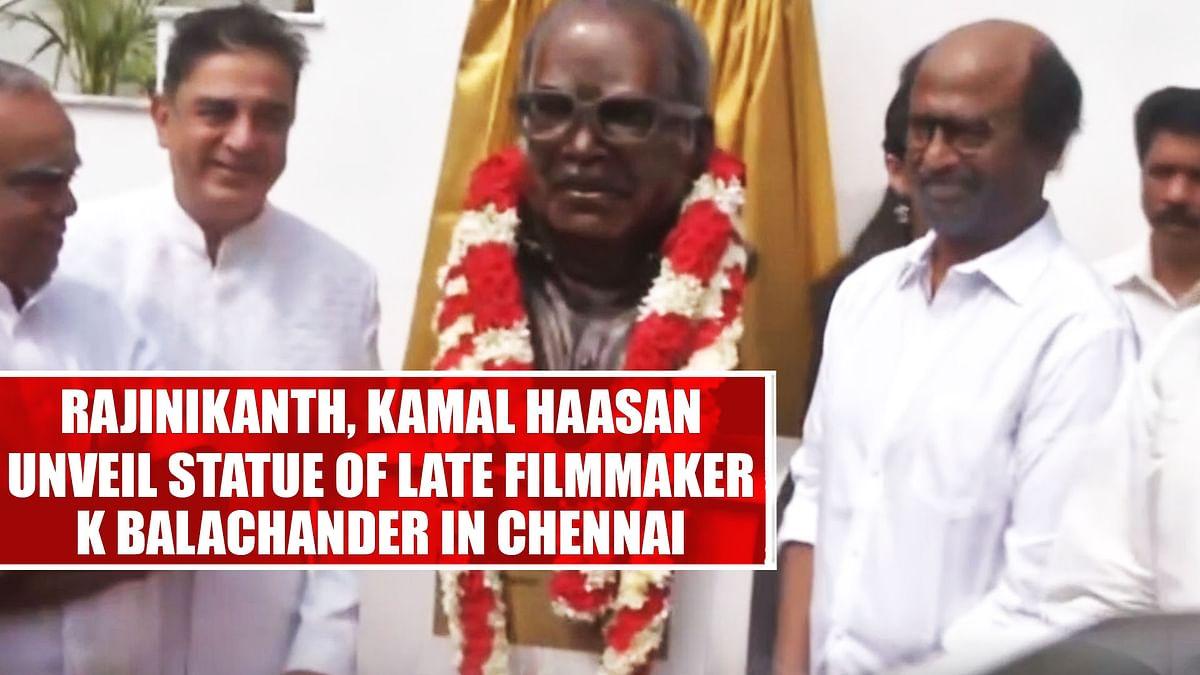 Rajinikanth, Kamal Haasan Unveil Statue Of Late Filmmaker K Balachander In Chennai