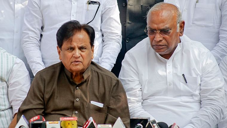 Congress leaders Ahmed Patel with Mallikarjun Kharge.