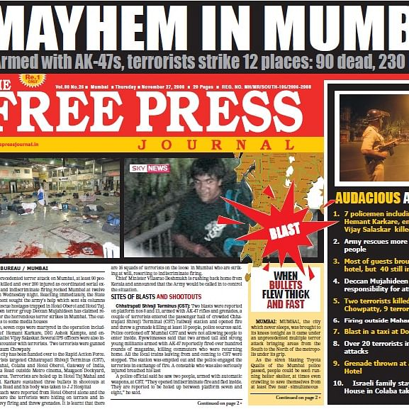 26/11 Terror Attacks: How The Free Press Journal covered Mumbai's Black Day