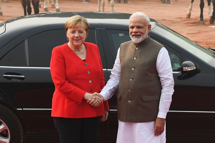 India's Prime Minister Narendra Modi (R) greets German Chancellor Angela Merkel during a welcoming ceremony at Rashtrapati Bhavan in New Delhi. (File)