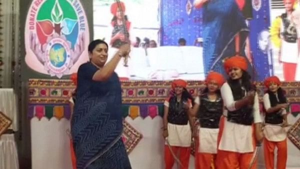 Smriti Irani performs with swords at function in Gujarat