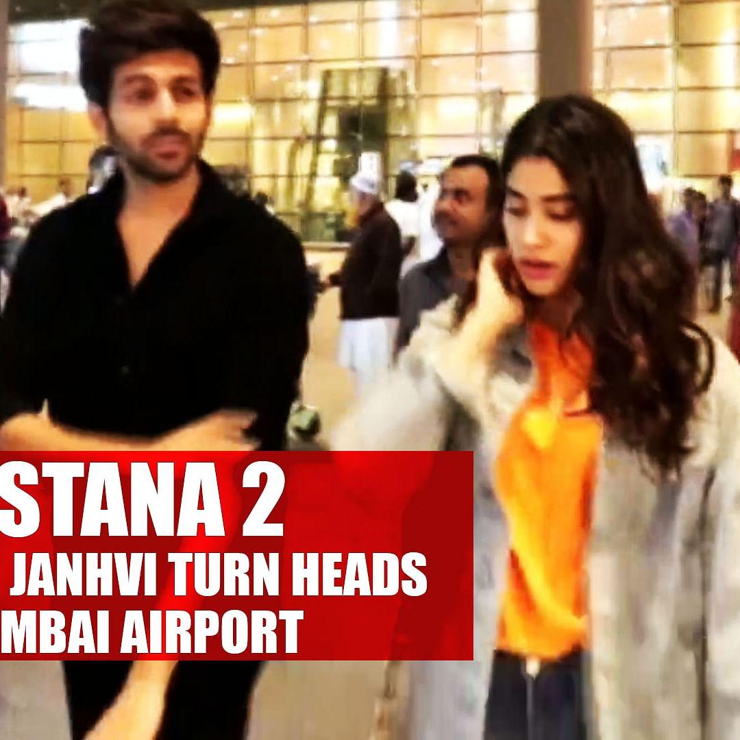 'Dostana 2' pair Kartik Aaryan and Janhvi Kapoor turn heads at Mumbai Airport