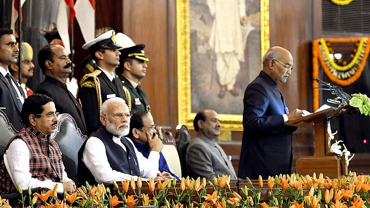 President Ram Nath Kovind addresses the joint sitting of parliament on the occasion of 70th Constitution Day celebrations in the presence of Vice President M Venkaiah Naidu, Prime Minister Narendra Modi, Lok Sabha Speaker Om Birla, and Parliamentary Affairs Minister Pralhad Joshi