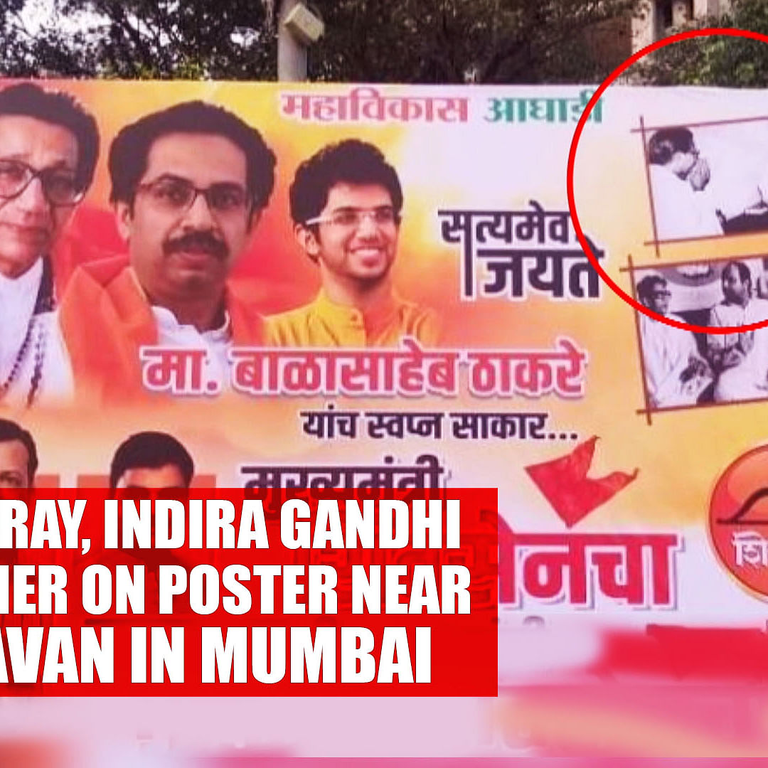 Bal Thackeray, Indira Gandhi seen together on poster near Sena Bhavan in Mumbai
