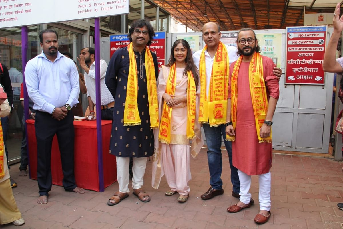 Ashutosh Gowariker with music composers Ajay Atul at Siddhivinayak Temple to take blessings before song launch.