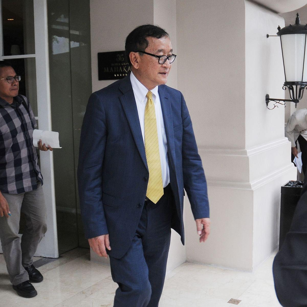 Cambodian opposition leader Sam Rainsy arrives in Indonesia