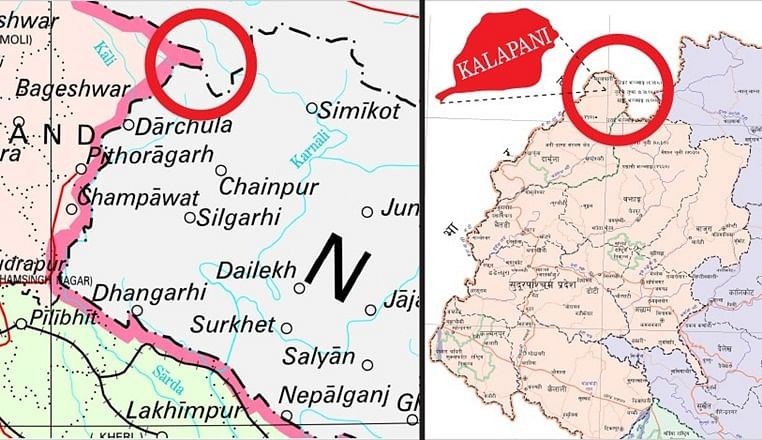 India's new political map (left) includes the disputed territory of Kalapani. Nepal's official map (right) also shows Kalapani inside its border.