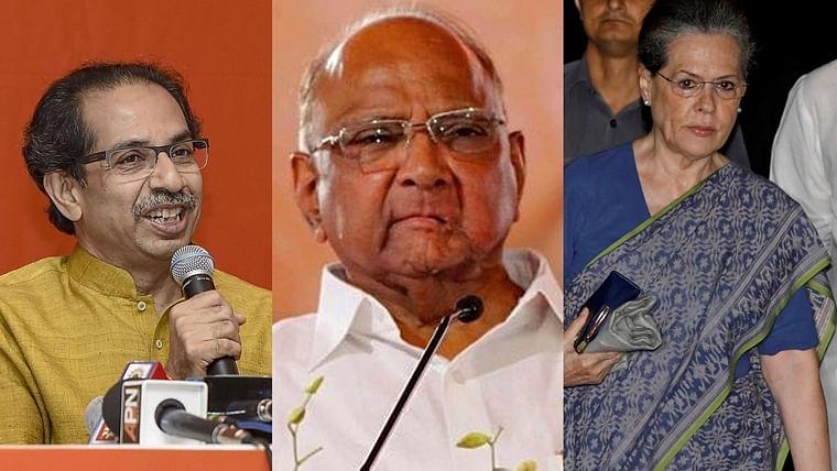 (L-R) Uddhav Thackeray, Sharad Pawar, Sonia Gandhi