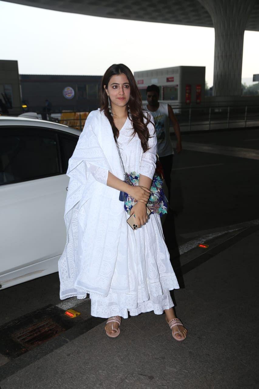 Nupur Sanon makes her airport fashion debut in a pristine white anarkali suit