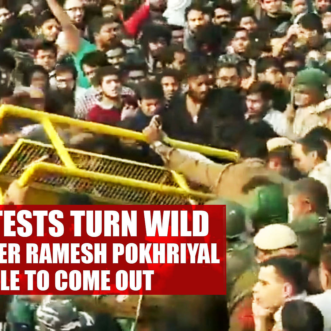JNU Protests Turn Wild, HRD Minister Ramesh Pokhriyal Unable To Come Out