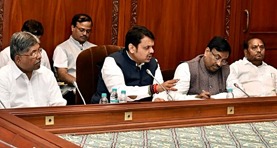 Cheif Minister of Maharashtra Devendra Fadnavis chairs a meeting with all those Ministers who visited unseasonal rain-affected areas to take stock of the situation, in Mumbai on Wednesday.