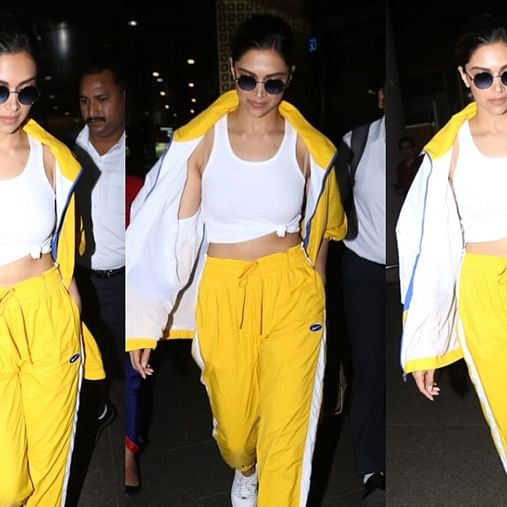 Deepika Padukone channels her inner Ranveer Singh in a bright yellow tracksuit at the airport