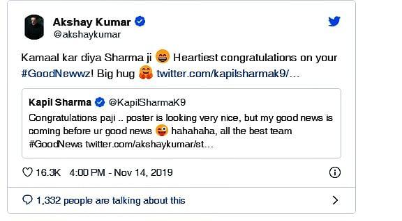 Akshay Kumar and Kapil Sharma engage in hilarious Twitter banter over 'Good Newwz'