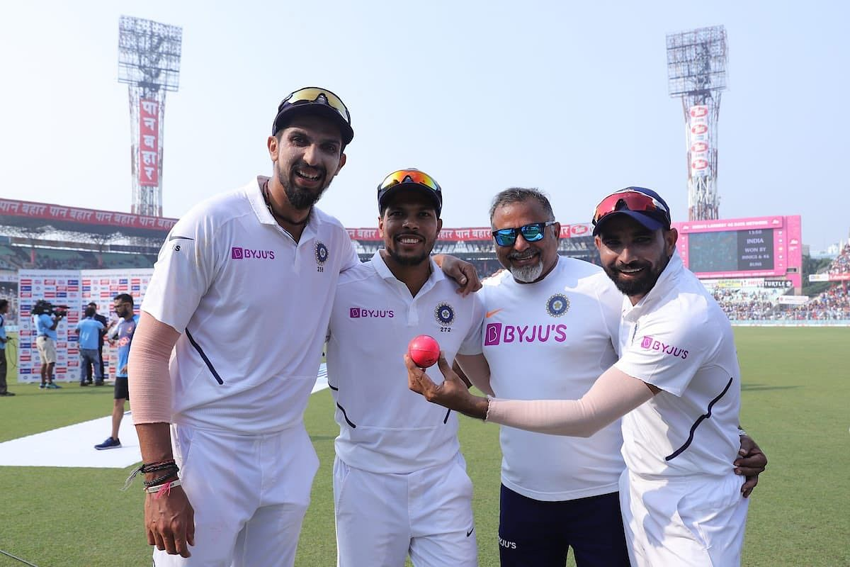 India's pace bowlers with bowling coach Bharat Arun