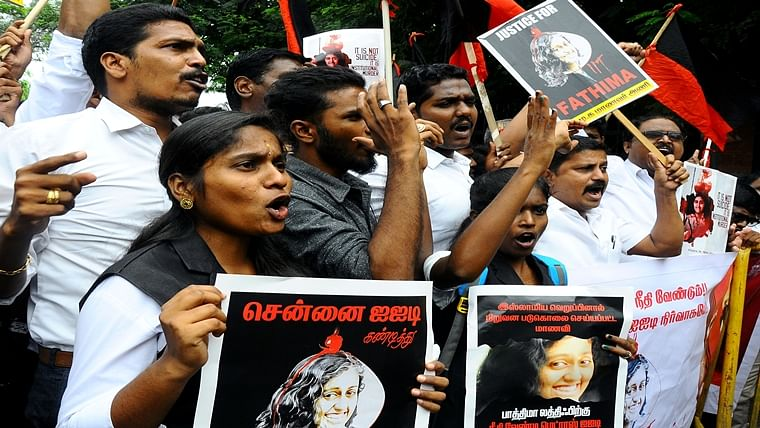 Members of Dravida Munnetra Kazhagam (DMK) Students Wing stage a demonstration over the suicide of Fathima Latheef, a first-year student of the Indian Institute of Technology Madras (IIT-M) outside the campus in Chennai on Friday.
